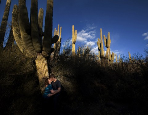 Cave Creek engagement pictures at sunset