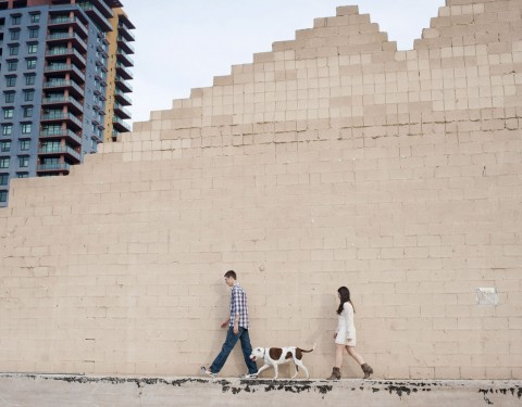 Urban engagement session with a dog Phoenix