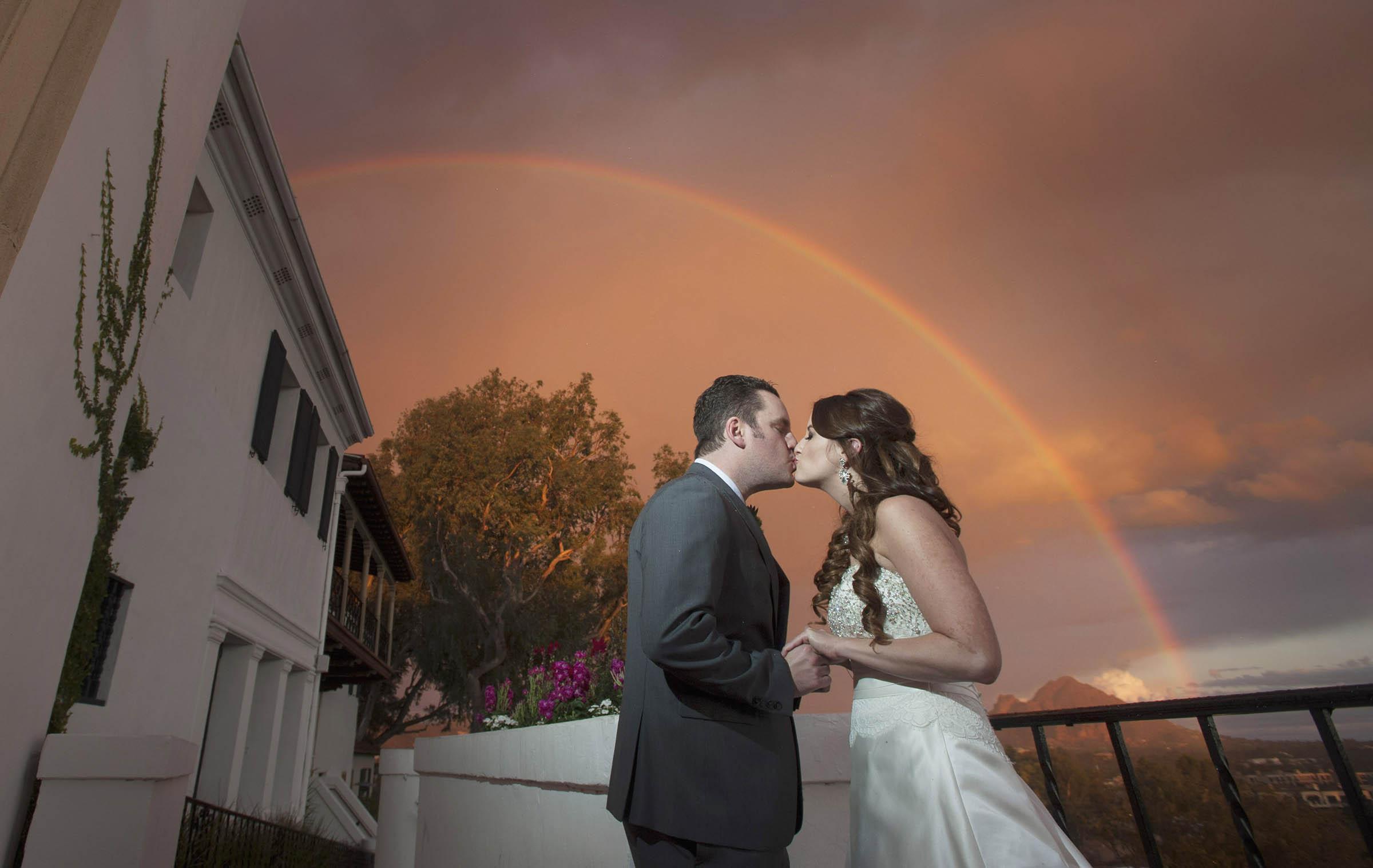 Wrigley Mansion wedding rainbow