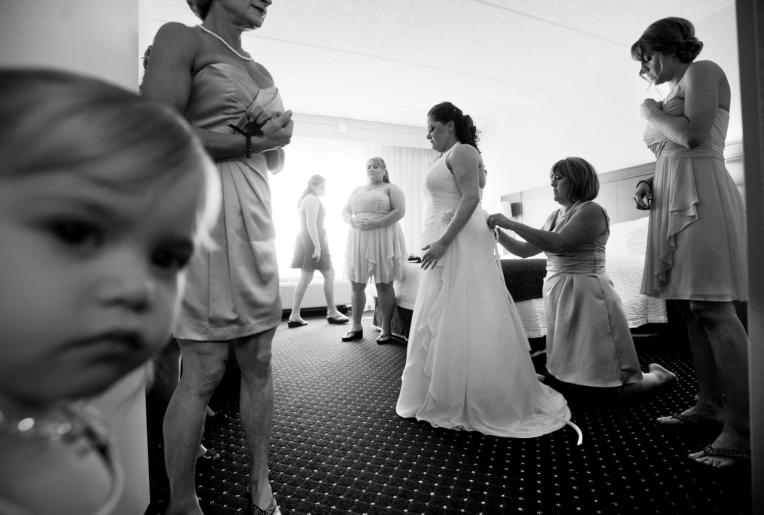 bride and bridesmaids wedding ready black & white