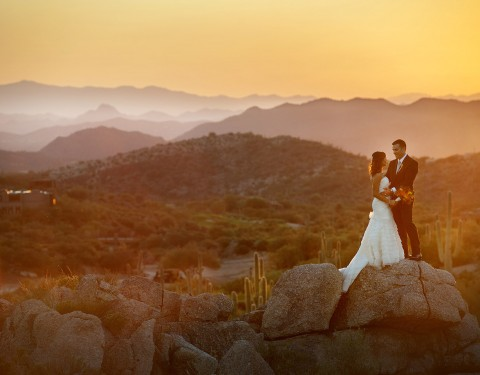 sunset at Desert Mountain Club wedding