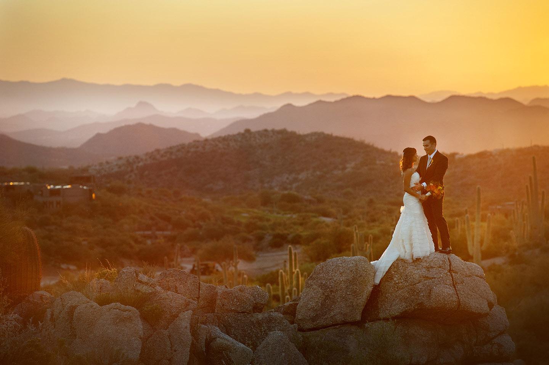 sunset at Desert Mountain Club wedding